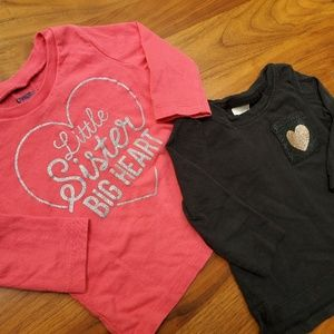 Little sister 2 pack 6 month baby girl shirts